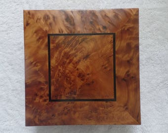 Moroccan Jewelry Gift Box Brown Square Shape Handmade With Pure Thuya Wood