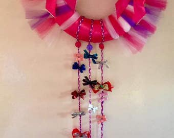 Pink and Purple Tulle Wreath Bow Holder
