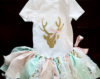 Ohhh deer/baby girl/toddler girl/Pink,mint,gold,lace,arrows, deer fabric tutu set/photo prop/birthday/cake smash/baby gift/Deer birthday