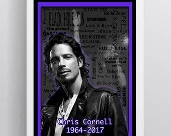 Chris Cornell Memorial Poster, Chris Cornell Memorial Song 2017 Gift, Chris Cornell Layered Tribute Fine Art