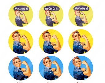 Rosie the Riveter 2 inches round for cupcake toppers sheet size 8.5x11 - Instant Download