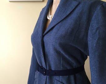 Vintage 1950s/40s periwinkle wool suit