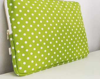 Laptop Sleeve, Macbook Sleeve with white polka dots