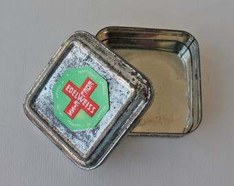 Vintage storage tin - metal tin - vintage - storage - desktop storage - Vintage Stationery