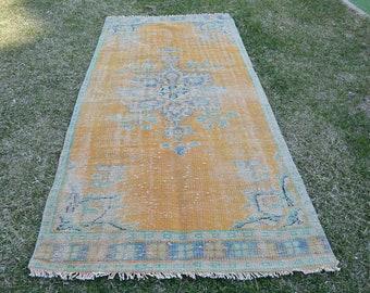 FREE SHIPPING Unique Turkish Rug 4' x 7.9' Vintage Area Rug Orange Color Antique Turkish Carpet Livingroom Rug Office Rug Code 184