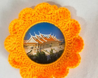 Yellow sun flower shape handmade weave ornaments