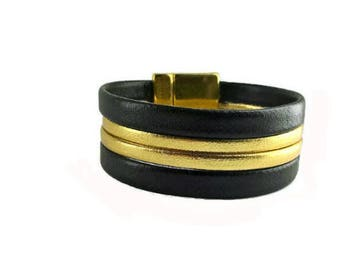 Cuff Bracelet black and gold faux leather
