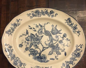 Vintage Blue and White Serving Plate