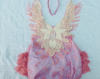 Toddler romper, pink lace covered romper