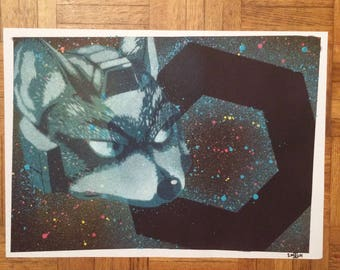 Fox spray paint stencil art