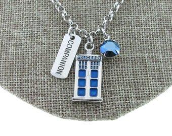 Doctor Who Companion Tardis Police Box Charm Necklace With Swarovski Crystal