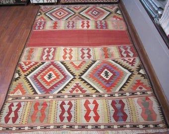 decorative rug,vintage,6'7x4'7feet,floor rug,home decor,kilim rug,rustic decor,turkish kilim rug,home living,handwoven kilim rug,