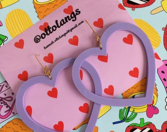 kitsch kawaii perspex lilac pastel over sized heart dangle earrings