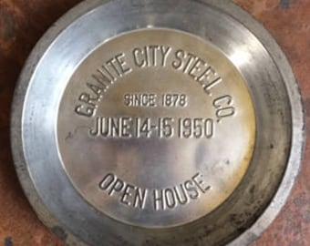 Vintage Business Advertising Tin, Metal Advertising Plate, Granite City Steel Co., Granite City Pie Plate, Old Business Metal Memorabilia