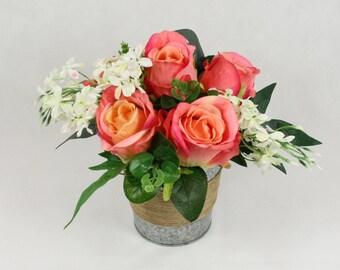 Artificial Pink Roses Bucket Silk Arrangement in Vase