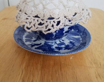 Tea Cup Pincushion on antique blue willow