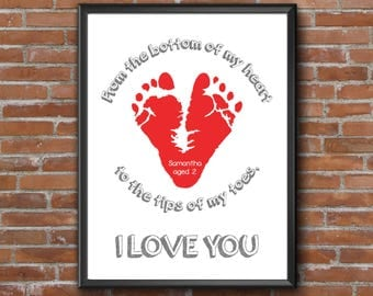 New Dad Gift from Baby, Personalized Gift for Daddy from Daughter Newborn Baby Girl Gift Daddy Father Son Gift OOAK Footprint Gift for Daddy