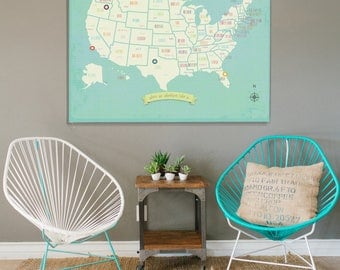 USA Wall Map, My Travels Personalized USA Wall Map Art Print, 36x24, United States, Customizable Map, Nursery Wall Art, Kid's Room