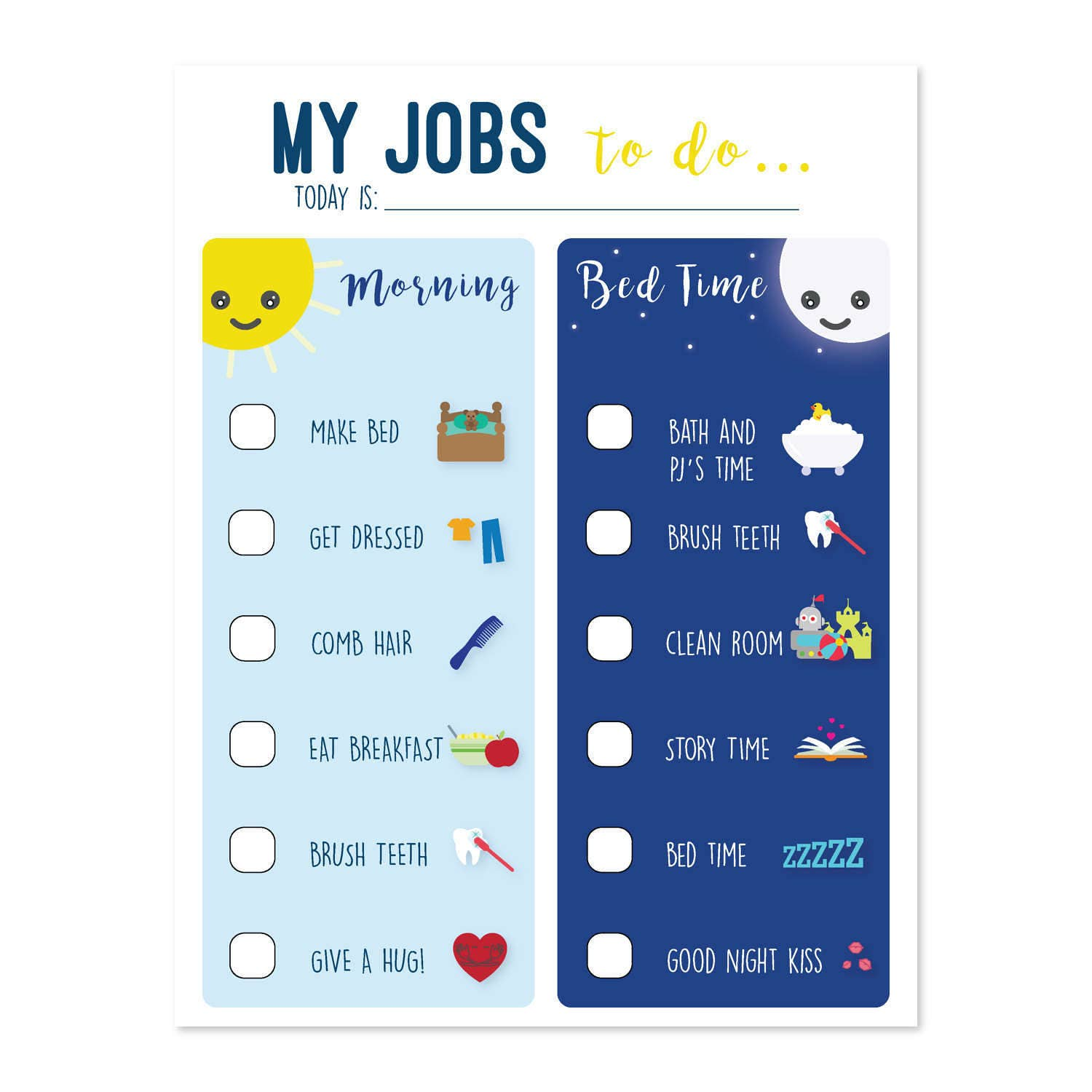Chore Chart To Do List Morning Routine Routine Chart