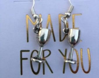 Silver Wine Glass Earrings