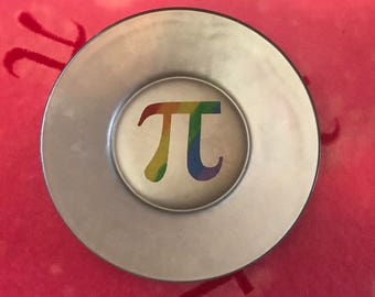 Rainbow and Silver Glass Pi Pie Plates