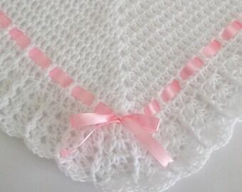 Crochet Baby Blanket / Afghan White and Pink Satin Ribbon Christening, Baptism, Baby Granny Square Crochet Blanket, Baby Shower Gift