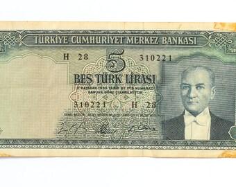 Turkey currency 5 Turkish Lira banknote  1930, Turkey vintage currency, Turkish old paper currency, Vintage Turkish money