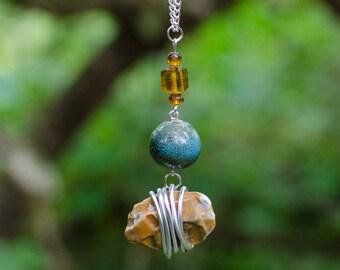 Orange Flint Beach Pebble Necklace