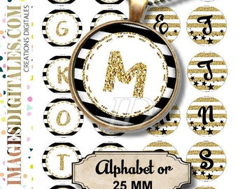 ALPHABET OR 25 mm ID Digital Collage Sheet Printable Instant Download for art jewelry scrapbooking bottle caps magnets pins