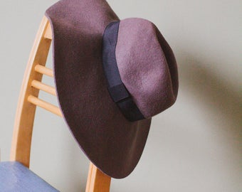 Vintage Brown Floppy Hat with Black Trim.