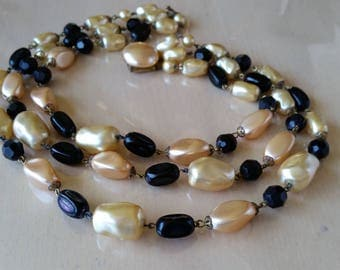 Vintage 1950s gold faux pearl & black bead three strand necklace