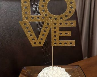 LOVE marquee inspired cake topper