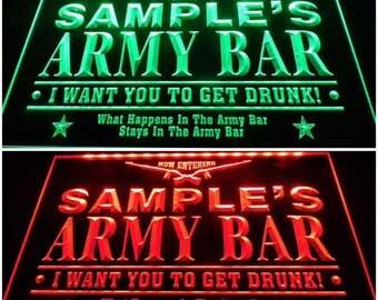 Personalized custom name Army Home Bar Gun military led neon sign home bar