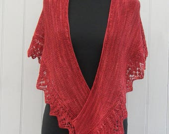 OOAK Hand knitted, lace edged shawl, hand dyed lambswool