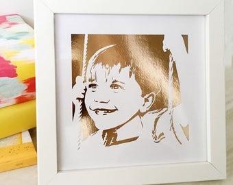 Custom Baby Portrait in Gold Foil, Custom Child Portrait in Gold Foil,  Foil Art