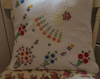 Handmade vintage shabby chic upcycled embroidered cushion