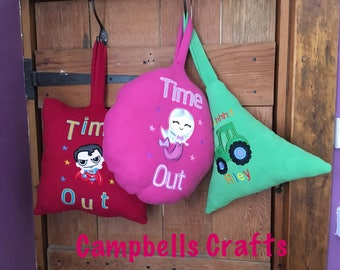Time Out Naughty Step Quiet Time cushion applique embroidery personalised