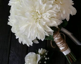 White Bridal Bouquet, dahlia bouquet, bridal bouquet white, country wedding bouquet, white wedding bouquet, white bouquet, rustic bouquet