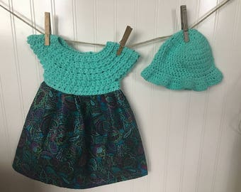 crochet baby dress and hat, teal baby dress, 6-12 months baby dress, paisley baby dress, sun dress and sun hat,
