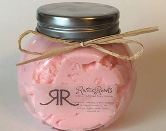 Strawberry banana - whipped body butter - natural, organic ingredients - thick, creamy body lotion - free shipping