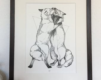 Original ink drawing - Foxtalk