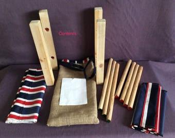 Flat-pack raised  Dog bed in Brit Stripe wipe-clean fabric