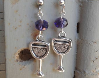 Wine Glass Earrings with Purple Swarivski Crystals