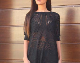 Its a pretty lace and cotton dress for the spring