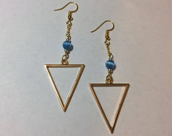 """Earrings """"Golden Triangle and his blue cat's eye"""""""