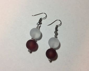 """Earrings """"in red and white customising"""""""