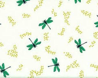 ORGANIC: Swan Lake Dragonflies Cream by Birch Fabric, swan fabric, bird fabric