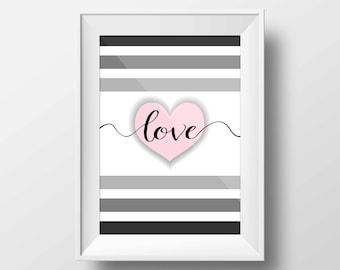 Stripes heart print, Pink love heart print, Pink heart wall art, Grey pink wall art, Grey pink heart wall art, Grey pink heart print