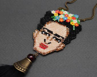 Frida Kahlo painter artist mexican colorful bead beaded art pendant necklace MADE TO ORDER