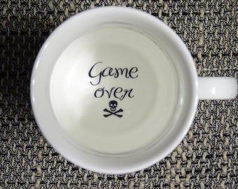 game over Coffee Mug, surprize mug, Bottom mug, hidden message, secret message, Funny, Cool, Coffe cup